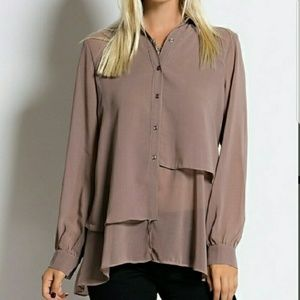 Taupe sheer blouse